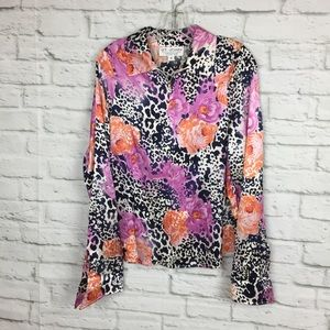 St John Collection Silk Blouse Animal Print Floral